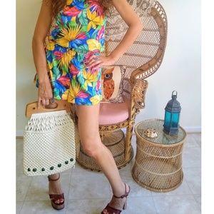 Gorgeous macramé and wood 70s purse